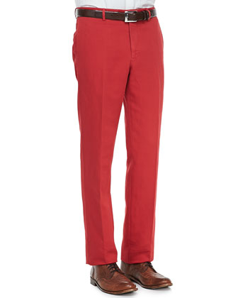 Linen-Cotton Chino Pants, Red