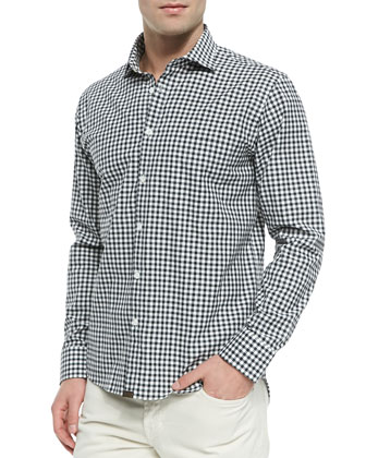 Gingham-Check Button-Down Shirt, Navy