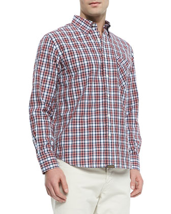 Plaid-Poplin Sport Shirt, Light Blue
