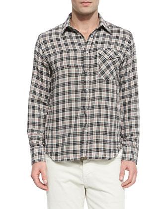Plaid Pearl-Snap Shirt, Navy