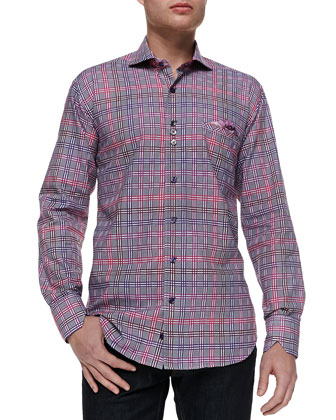 Window Pane-Print/Paisley-Contrast Shirt