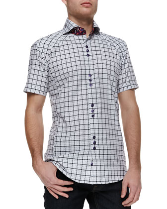Jacquard-Check Short-Sleeve Button-Down Shirt