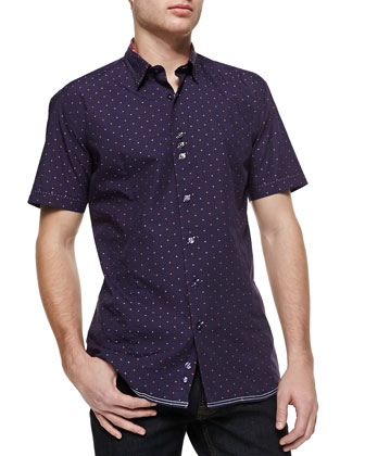 Check and Dot Short Sleeve Shirt, Purple