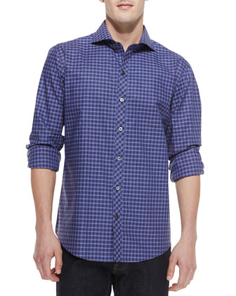 Marshall Plaid Long-Sleeve Shirt, Blue