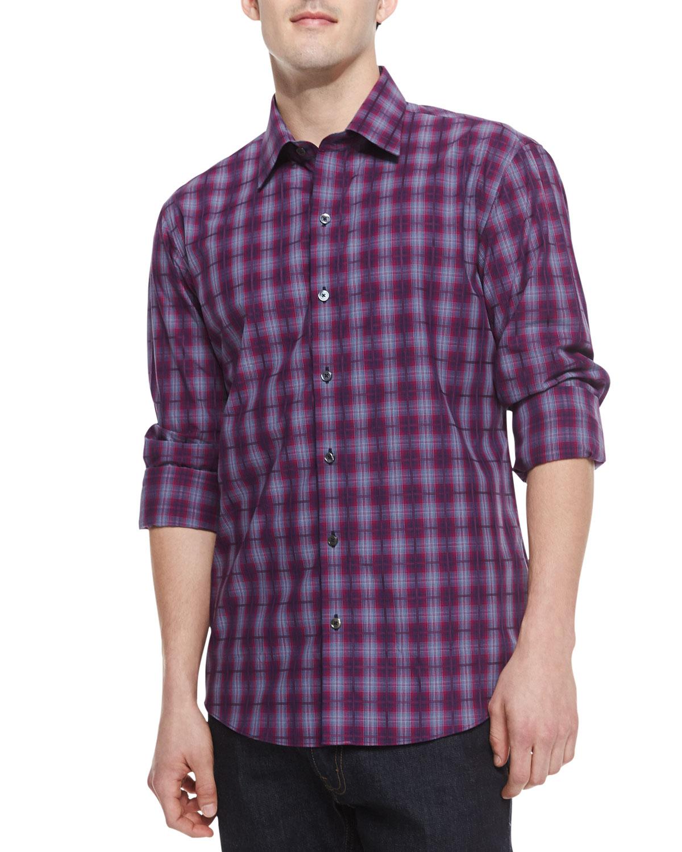 Mens Magenta Plaid Lover Long Sleeve Shirt, Medium Pink   Zachary Prell   Med