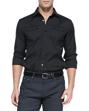 Double-Pocket Shirt, Black