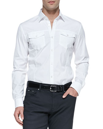 Double-Pocket Shirt, White
