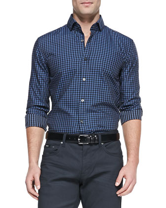 Gingham Button-Down Shirt, Navy