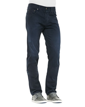Twill 5-Pocket Pants, Navy