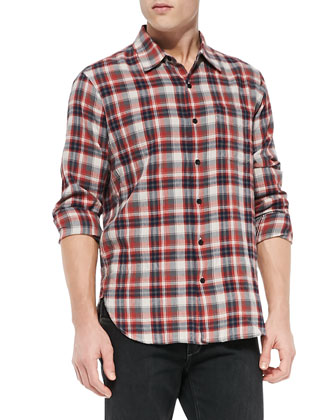 Plaid Beach Shirt, Red/Blue