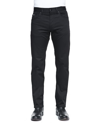 Regular Fit Techno Pants, Black