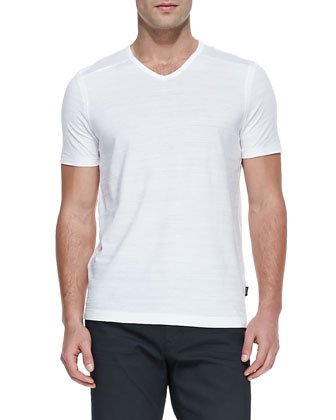 Flame Jersey V-Neck T-Shirt, White