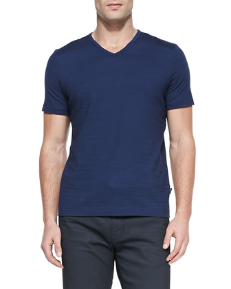 Flame Jersey V-Neck T-Shirt, Royal Blue