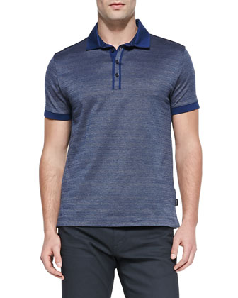 Twisted Jacquard Polo Shirt, Navy