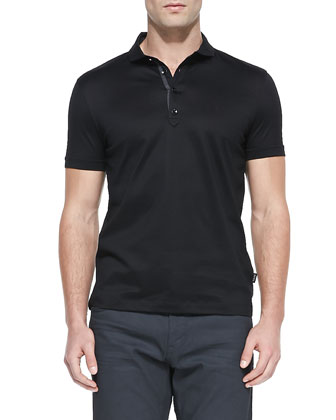 Regular Mercerized Polo Shirt, Black