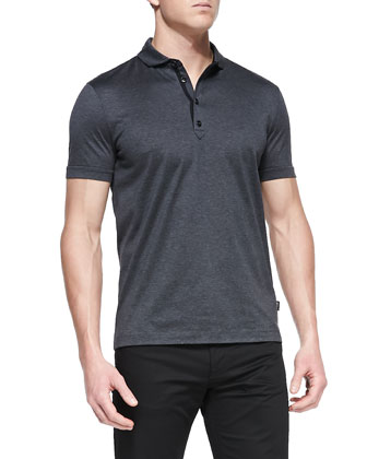 Regular Mercerized Polo Shirt, Gray