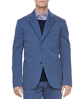 Linen-Blend Suit Jacket, Blue