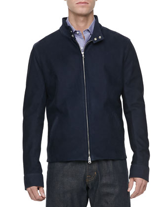 Nubuck Leather Zip-Front Jacket, Navy