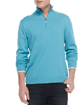 Walkenfuss Zip-Placket Sweater, Aqua
