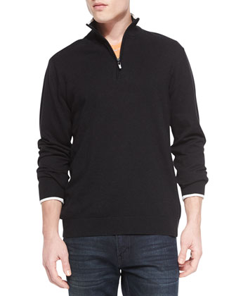 Walkenfuss Zip-Placket Sweater, Black