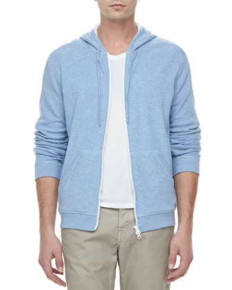 Jersey-Lined Heather Hoodie, Light Blue
