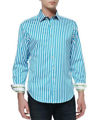 Balik Striped Shirt, Turquoise