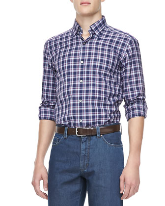 Large Plaid Sport Shirt, Navy/Plum