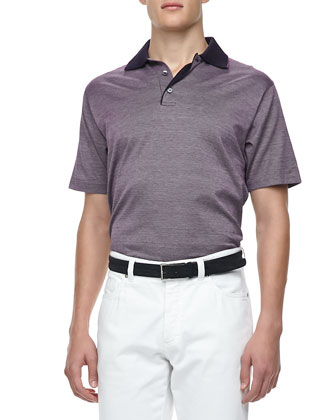 Heather Short-Sleeve Polo, Plum/Navy