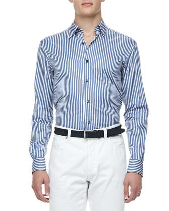 Multi-Stripe Dress Shirt, Turquoise