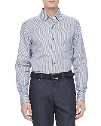 Micro-Stripe Dress Shirt, Gray/Navy