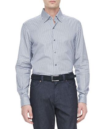 Micro-Stripe Dress Shirt, Gray/Navy