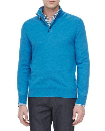 Quarter-Placket Pullover, Turquoise