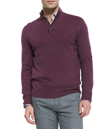 Quarter-Placket Pullover Sweater, Plum