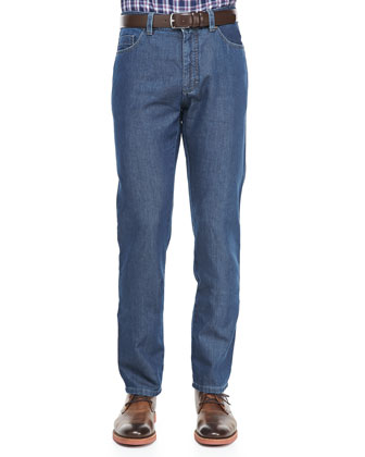 Five-Pocket Silk Denim Jean, Indigo