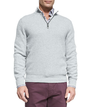Quarter-Zip Pullover Sweater, Dark Gray