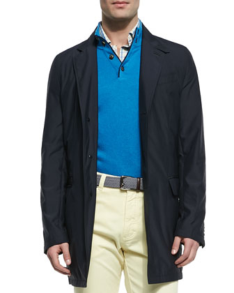 Tech Blazer Jacket, Heather Short-Sleeve Polo & Five-Pocket Denim Jeans