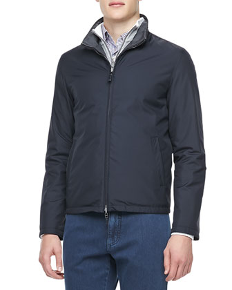 Reversible Zip-Front Blouson Jacket, Navy/Charcoal