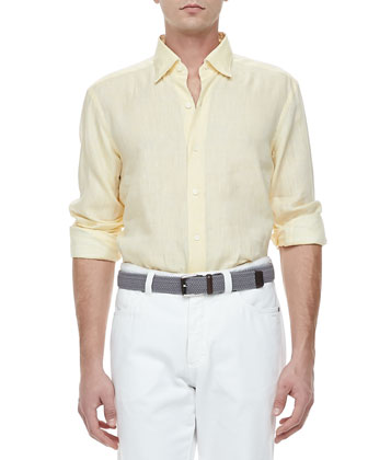 Linen Sport Shirt, Yellow
