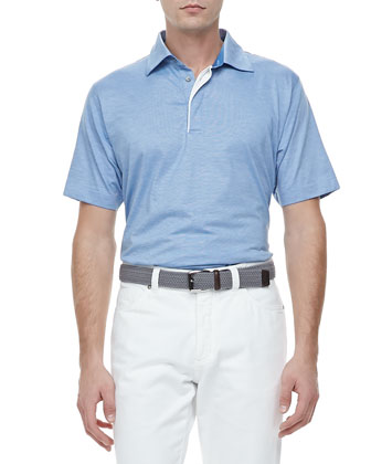 1x1 Short Sleeve Polo, Blue