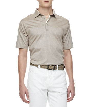 Melange-Knit Short-Sleeve Polo, Beige