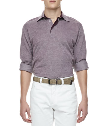 Melange-Knit Long-Sleeve Polo, Purple
