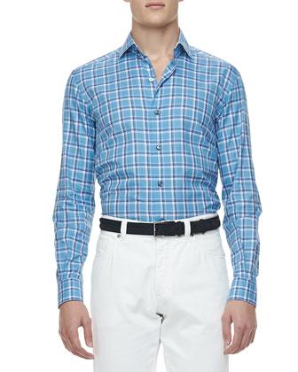 Check Poplin Sport Shirt, Turquoise