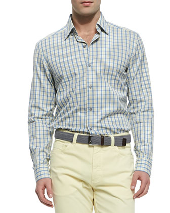 Plaid Poplin Sport Shirt, Yellow