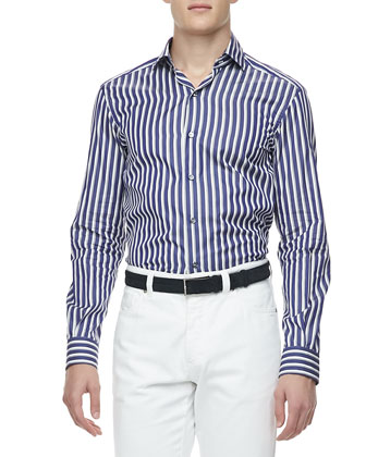 Wide-Stripe Sport Shirt, Blue