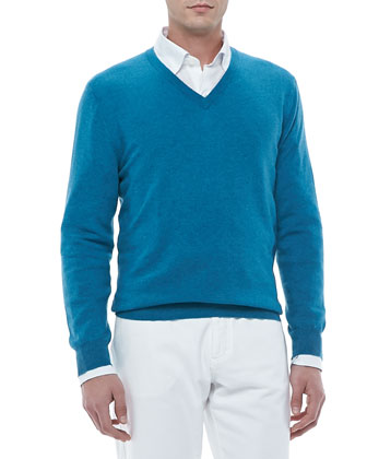 V-Neck Pullover Sweater, Emerald