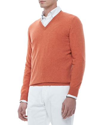 V-Neck Pullover Sweater, Orange