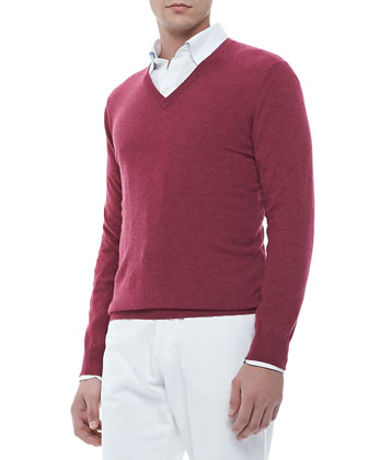 V-Neck Pullover Sweater, Berry Red