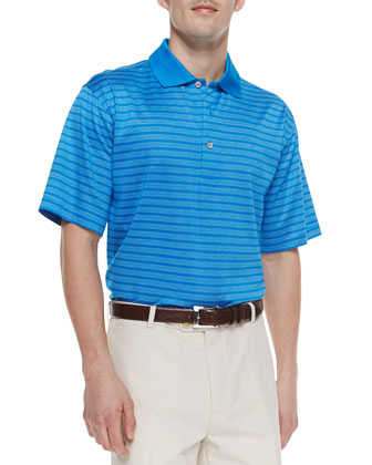 Voodoo Lisle-Stripe Polo, Blue