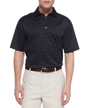 Marcy Striped-Lisle Polo, Black