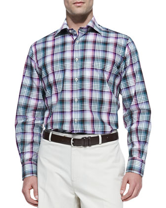 Plaid Button-Down Shirt, Purple